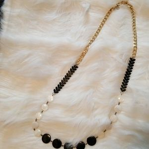 Black, pearl and gold long necklace